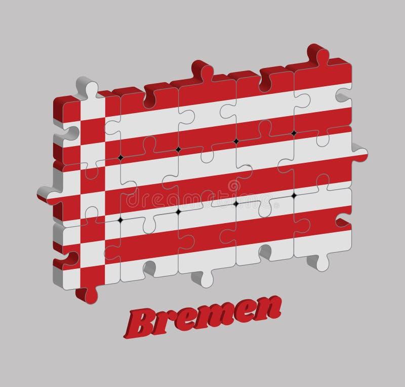 Puzzle 3D von Bremen-Flagge, von Rot und von weißer Flagge Die Staaten von Deutschland vektor abbildung