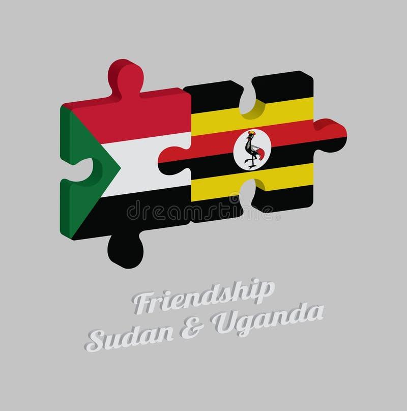 Puzzle 3D von Sudan-Flagge und von Uganda-Flagge mit Text: Freundschaft Sudan u. Uganda Konzept von freundlichem zwischen beiden  lizenzfreie abbildung