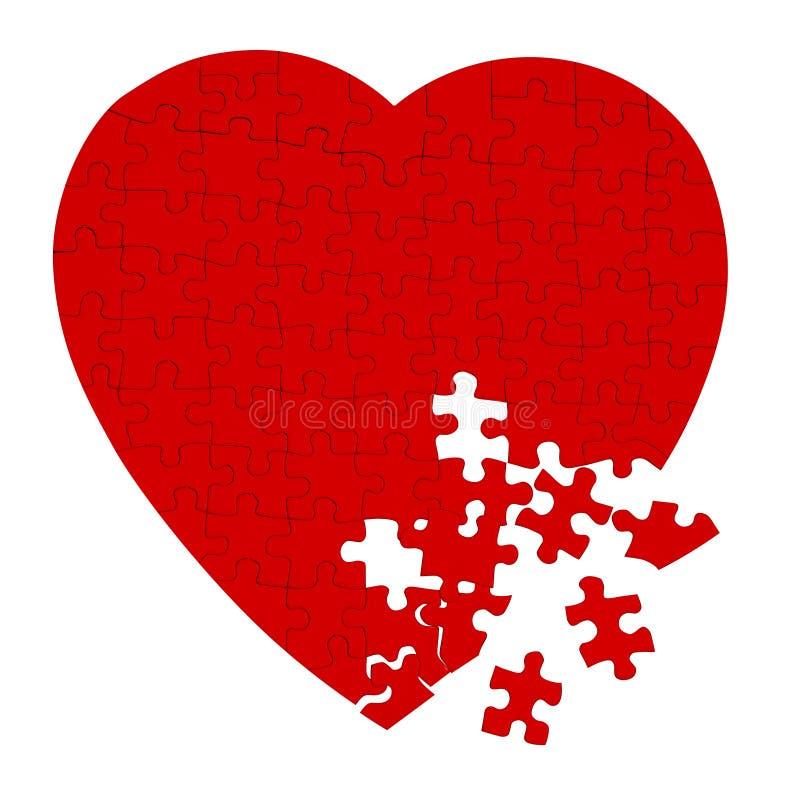 Puzzle de coeur cassé d'isolement sur le blanc image libre de droits