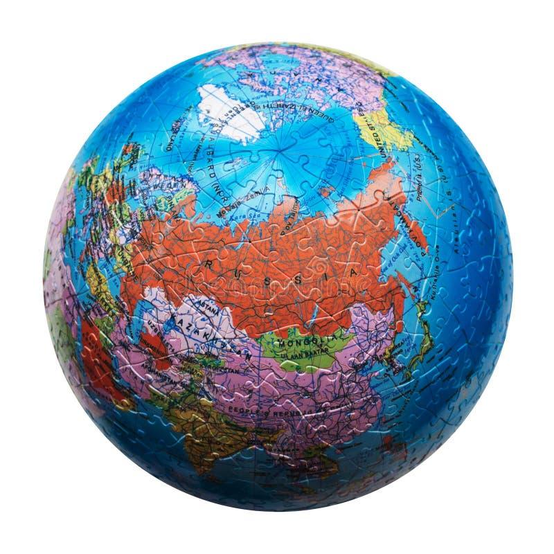 Puzzle de globe d'isolement Carte de la Russie image libre de droits