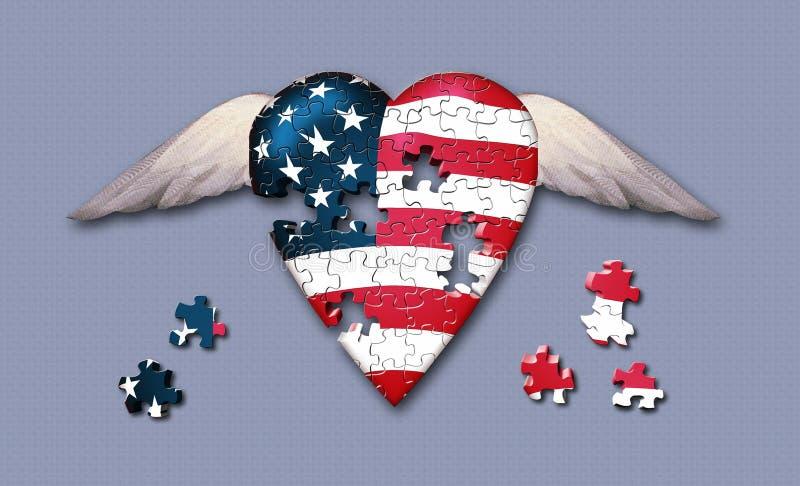 Puzzle de liberté des Etats-Unis illustration de vecteur