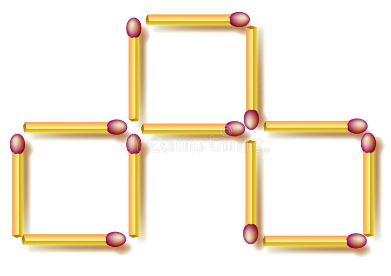 Puzzle de logique Déplacez trois allumettes pour faire sept places illustration de vecteur