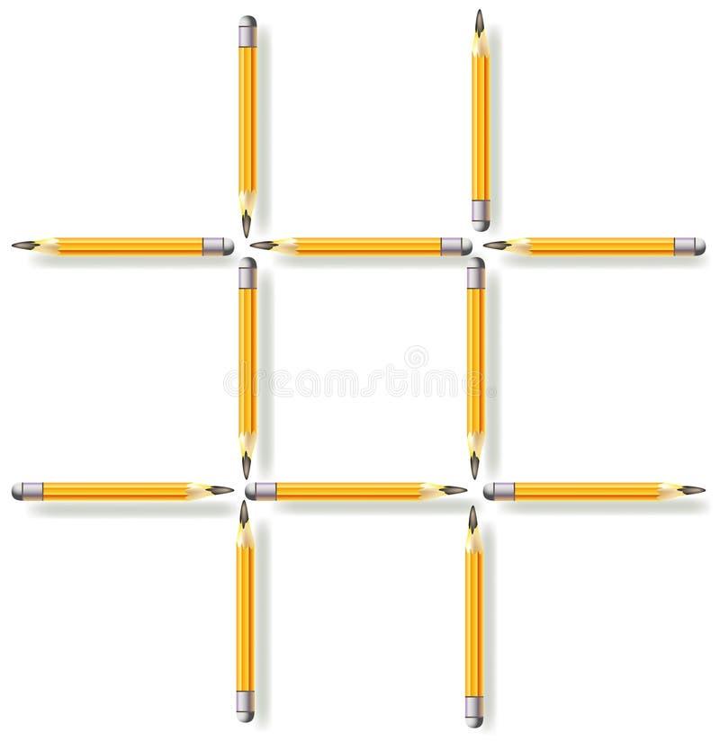 Puzzle de logique Déplacez trois crayons pour faire trois places illustration stock