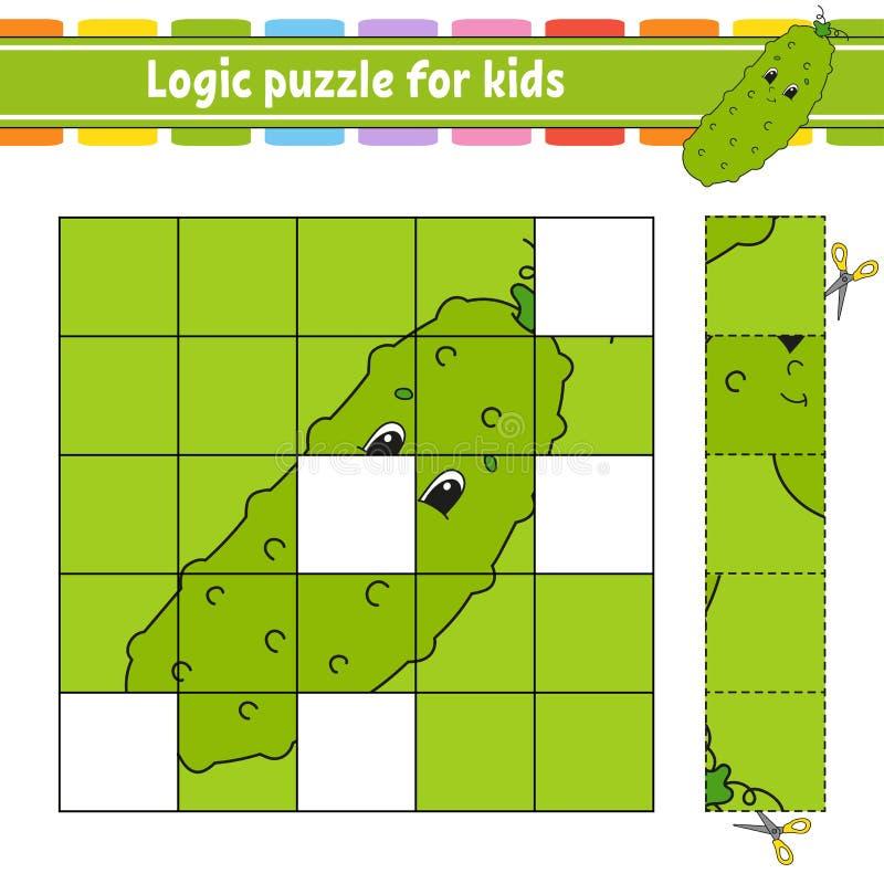 Puzzle de logique pour des enfants Fiche de travail se d?veloppante d'?ducation ?tude du jeu pour des enfants Page d'activit? Pou illustration stock