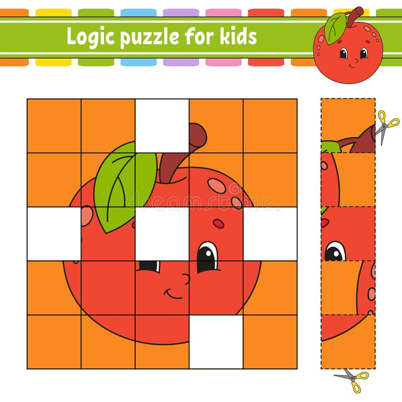 Puzzle de logique pour des enfants Fiche de travail se d?veloppante d'?ducation ?tude du jeu pour des enfants Page d'activit? Pou illustration libre de droits