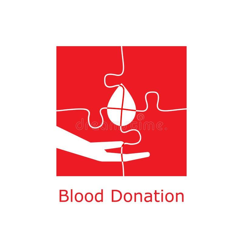 Puzzle de logo de don du sang illustration stock