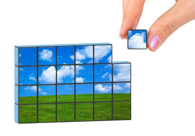 Puzzle de main et de nature (ma photo) photos stock