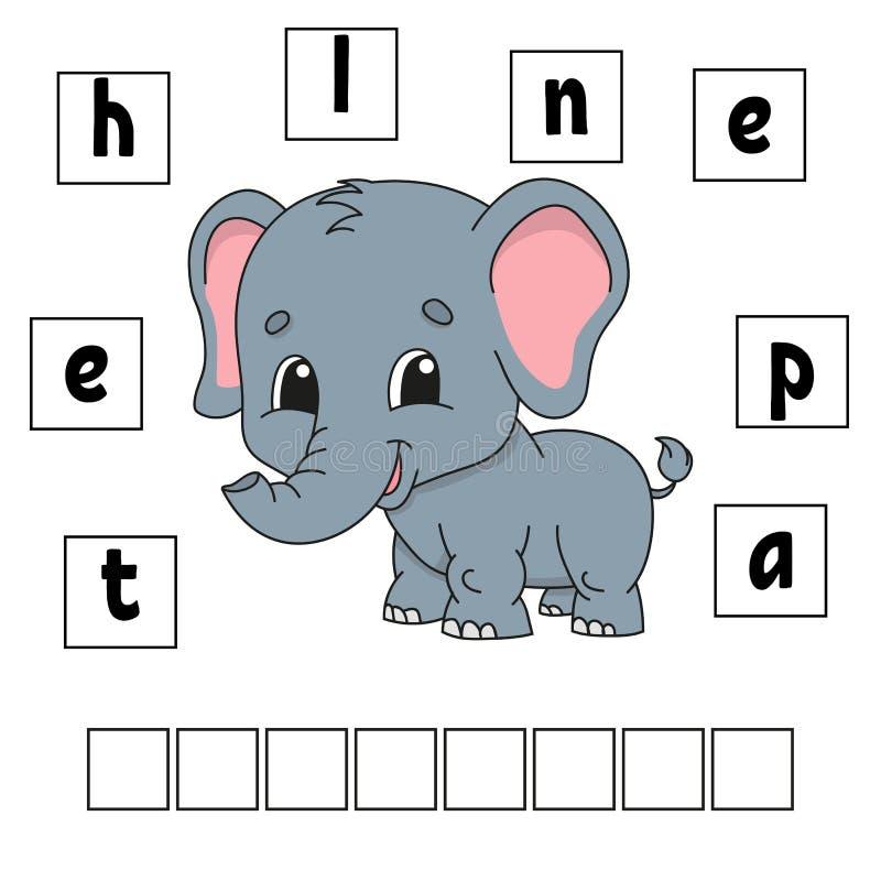 Puzzle de mots Fiche de travail se développante d'éducation Jeu pour des gosses Page d'activité Puzzle pour des enfants Énigme po illustration de vecteur