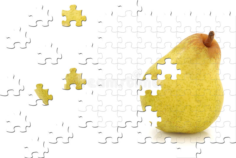 Puzzle de poire sur le blanc images libres de droits