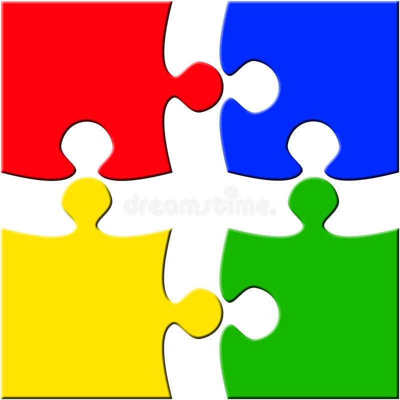 Puzzle de quatre parties au-dessus du blanc séparé illustration libre de droits