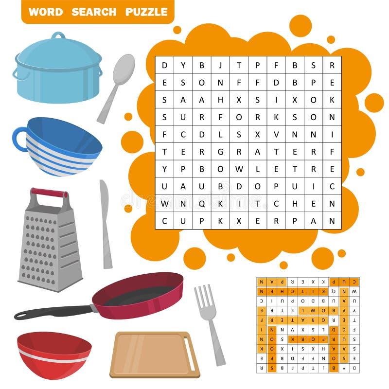 Puzzle de recherche de Word Jeu d'éducation de vecteur pour des enfants illustration de vecteur