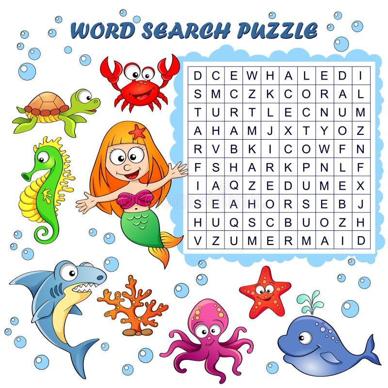 Puzzle de recherche de Word Jeu d'éducation de vecteur pour des enfants Animaux de mer illustration de vecteur