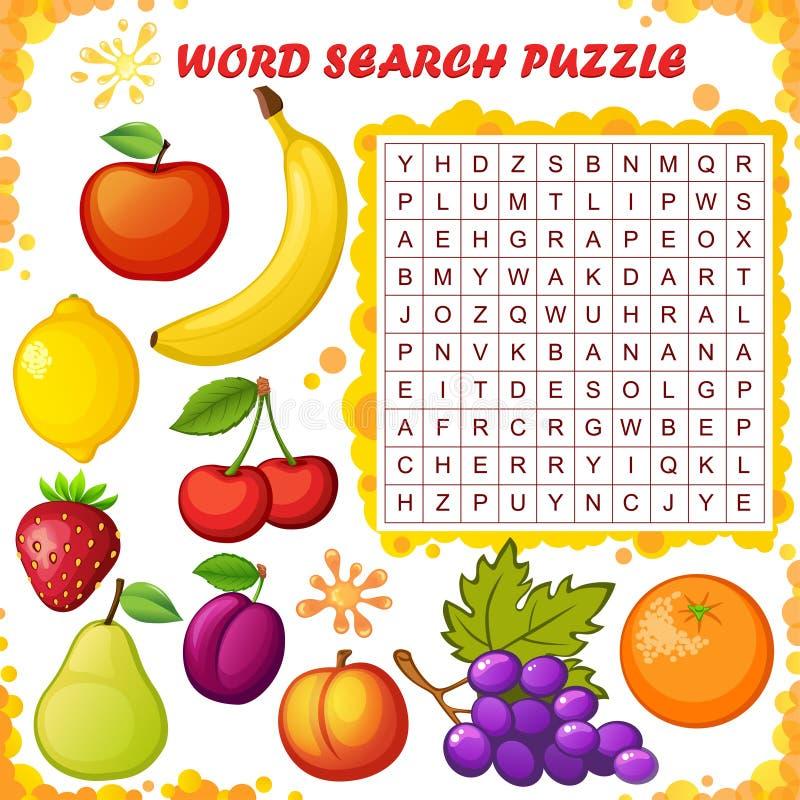 Puzzle de recherche de Word Jeu d'éducation de vecteur pour des enfants Fruits illustration stock