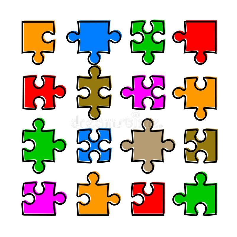 Puzzle de seize couleurs - vecteur illustration stock