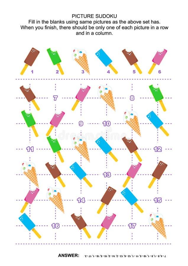 Puzzle de sudoku d'image avec des glaces à l'eau et des cônes de crème glacée  illustration stock