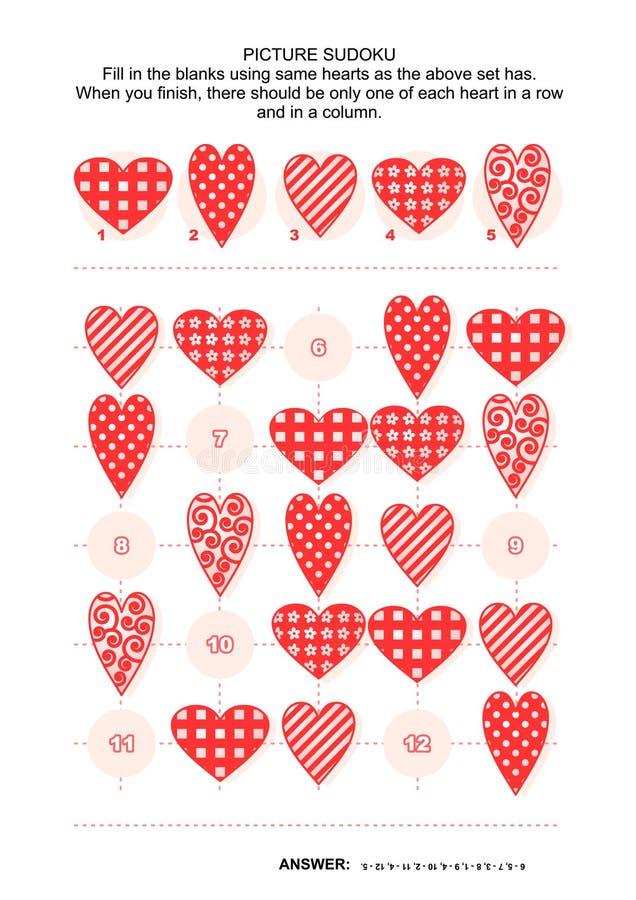 Puzzle de sudoku de photo avec des coeurs illustration libre de droits