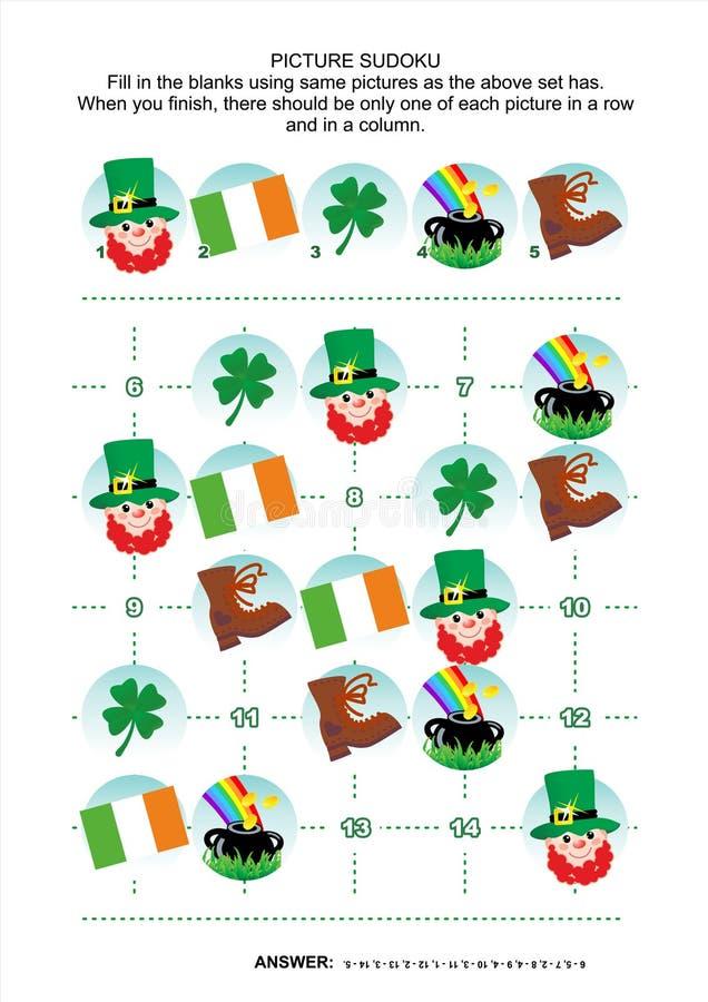 Puzzle de sudoku de photo, le jour de St Patrick orienté illustration de vecteur