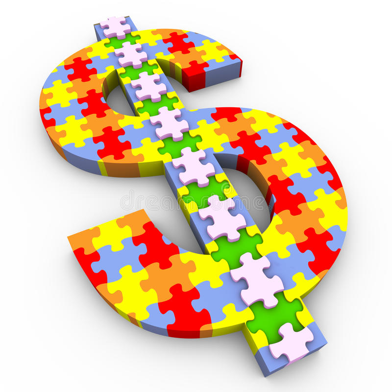 puzzle de symbole du dollar 3d illustration de vecteur
