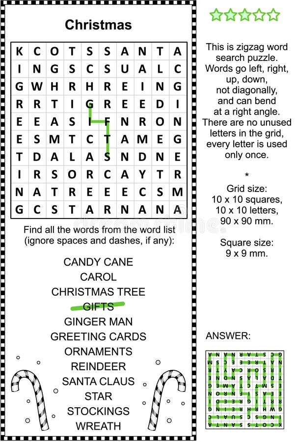 Puzzle de wordsearch de Noël illustration stock