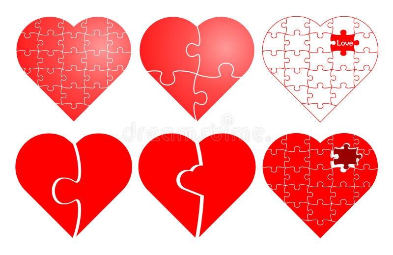 Puzzle del biglietto di S. Valentino fotografia stock