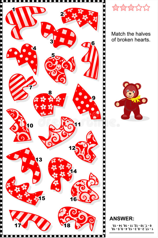 Puzzle del biglietto di S. Valentino - abbini le metà dei cuori rotti illustrazione vettoriale