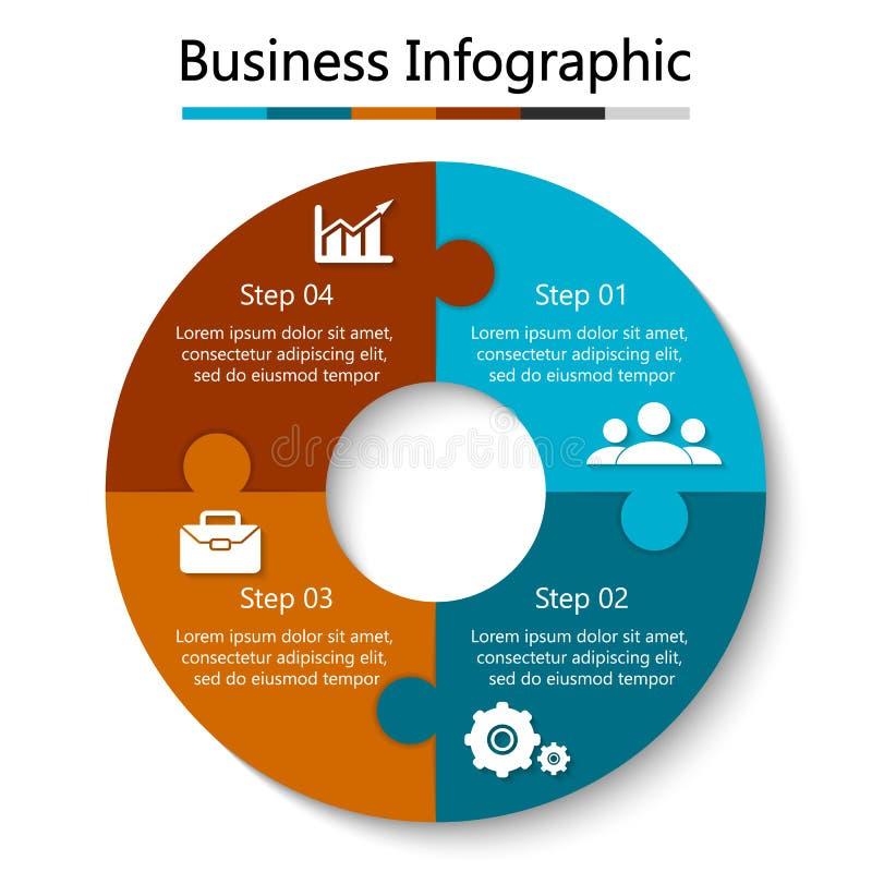Puzzle del cerchio di vettore per infographic Modello per il diagramma di riciclaggio, il grafico ed il grafico rotondo royalty illustrazione gratis