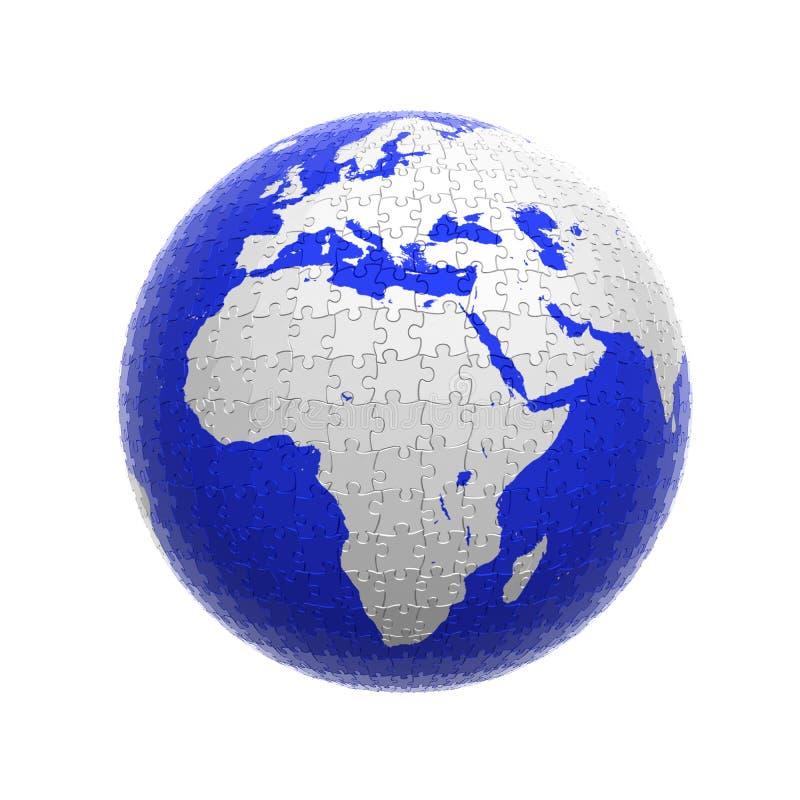 Puzzle del globo della terra illustrazione di stock