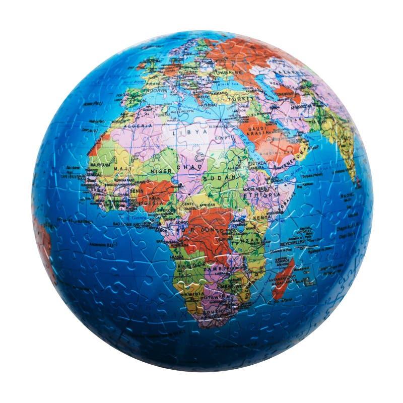 Puzzle del globo isolato Programma dell'Africa fotografia stock