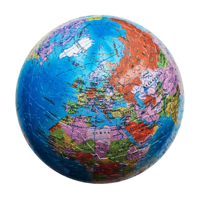 Puzzle del globo isolato Programma di Europa fotografia stock