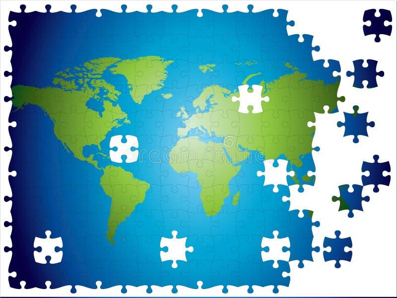 Puzzle del programma di mondo, stratificato e completamente editable. royalty illustrazione gratis