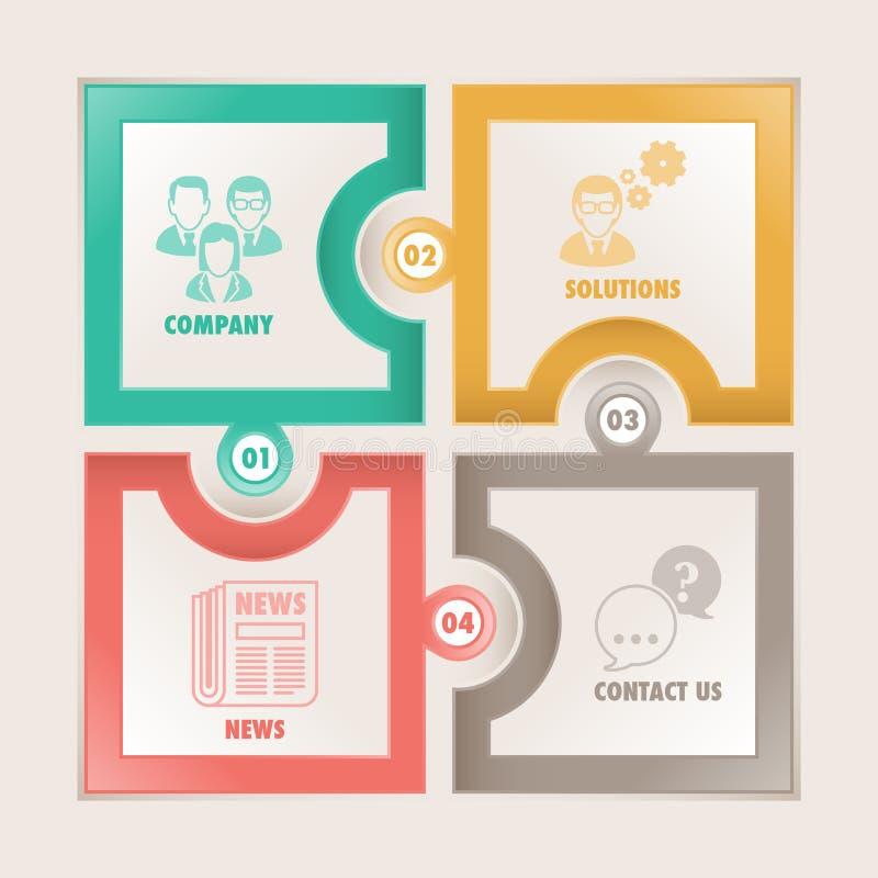 Puzzle del quadrato dell'insegna di Infographics illustrazione di stock