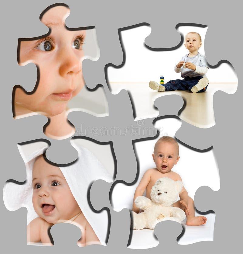 Puzzle del ritratto del bambino fotografia stock libera da diritti
