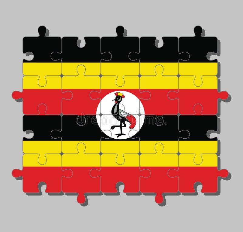 Puzzle della bandiera dell'Uganda in giallo e rosso neri; un disco bianco descrive il simbolo nazionale, una gru incoronata grigi illustrazione vettoriale