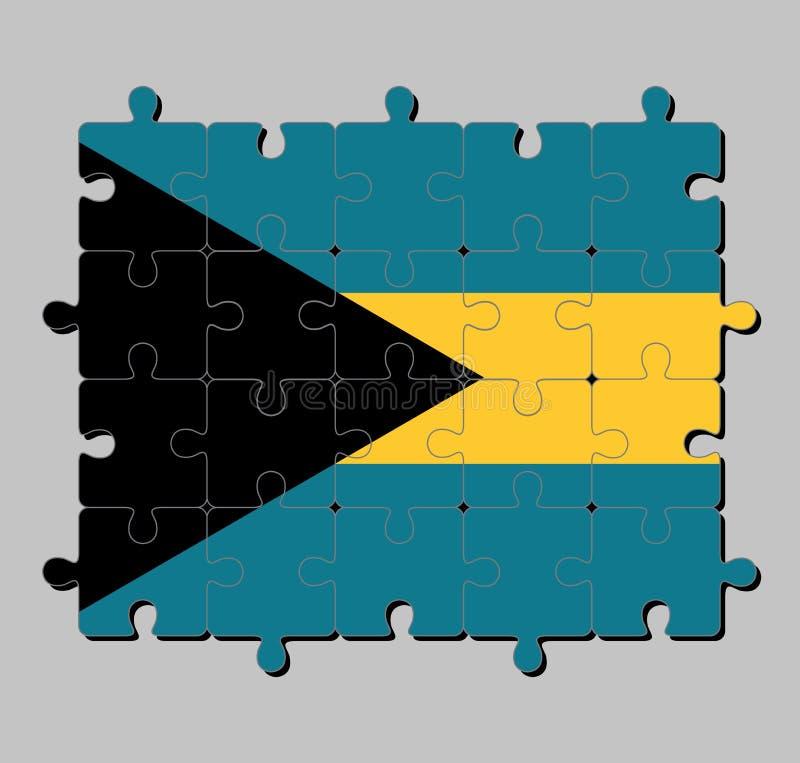 Puzzle della bandiera delle Bahamas nel triband dell'alto e del basso dell'acquamarina e dell'oro con il gallone nero stato allin illustrazione vettoriale