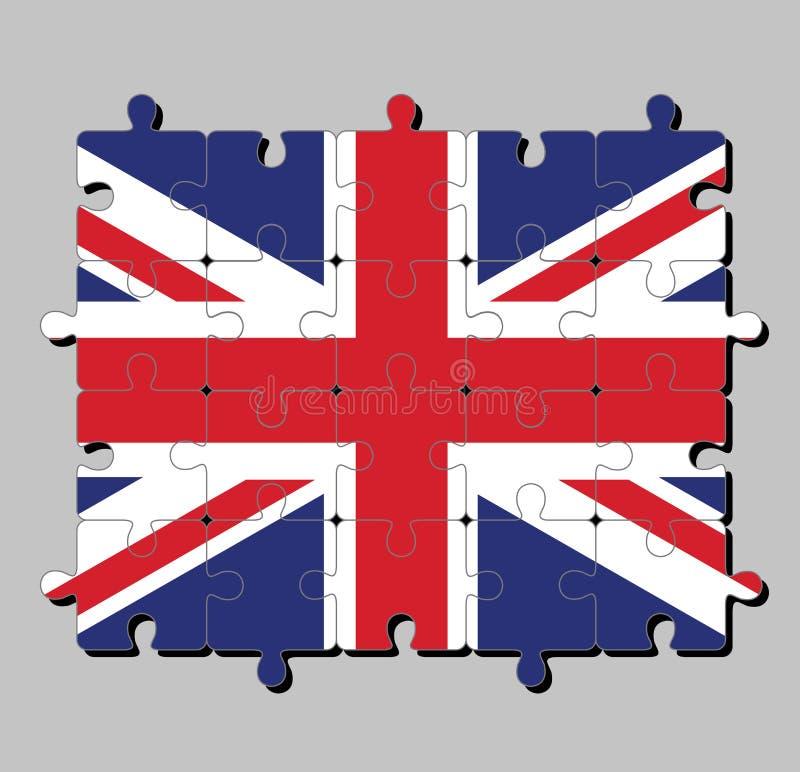 Puzzle della bandiera di Union Jack, è la bandiera nazionale del Regno Unito illustrazione vettoriale