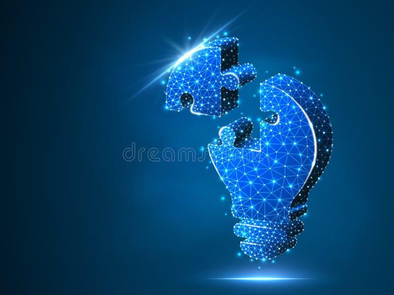 Puzzle della lampadina Idea, elettricità, concetto dell'innovazione Poli simbolo basso al neon della lampada della lampadina del  royalty illustrazione gratis