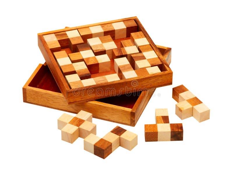 Puzzle delle barre di legno immagini stock