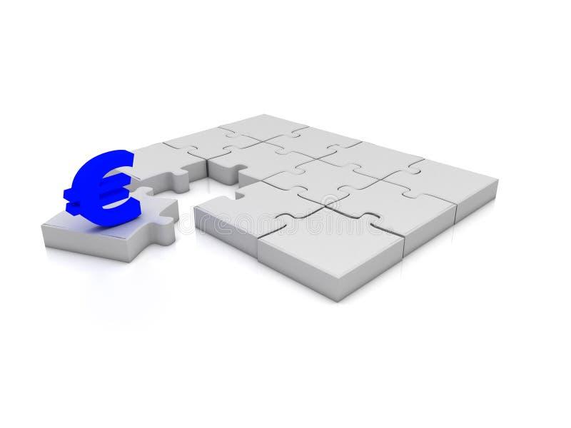 Puzzle denteux blanc d'euro signe illustration libre de droits