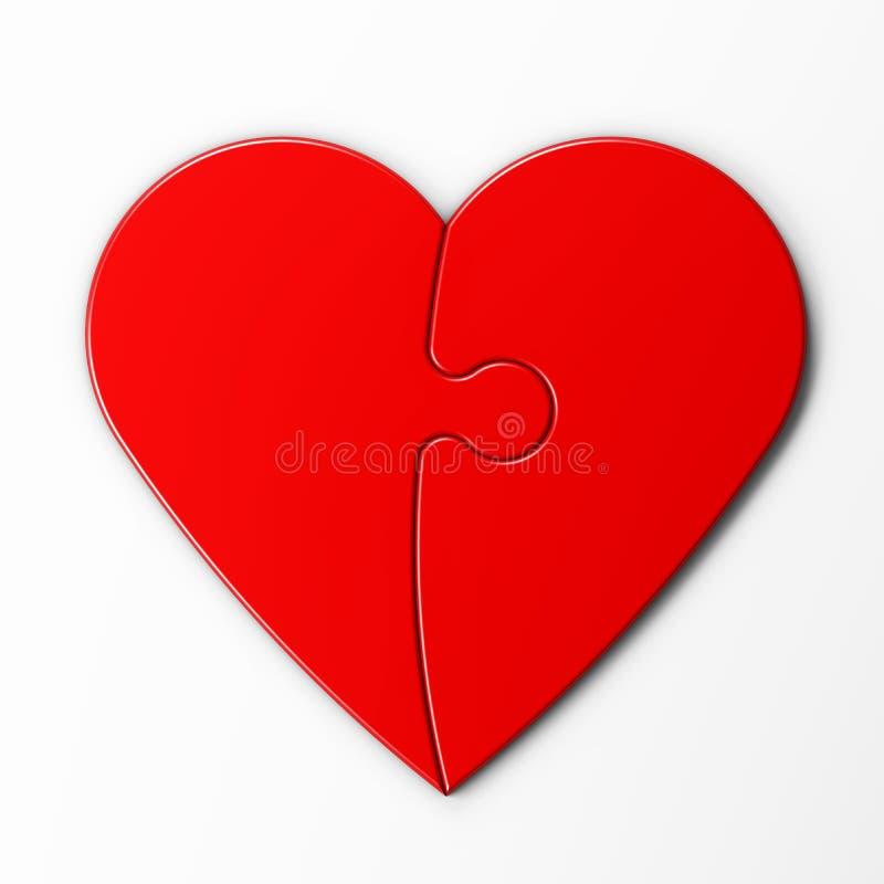 Puzzle denteux d 39 un coeur rouge avec le chemin de d coupage illustration stock illustration du - Photo d un coeur ...