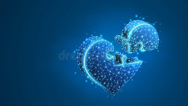 Puzzle denteux de coeur Coeurs se reliants de personnes de Saint-Valentin, concept d'aide de santé de cardiologie de médecine R?s illustration stock