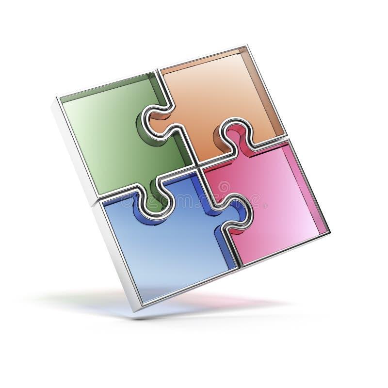 Puzzle denteux de couleur. illustration stock