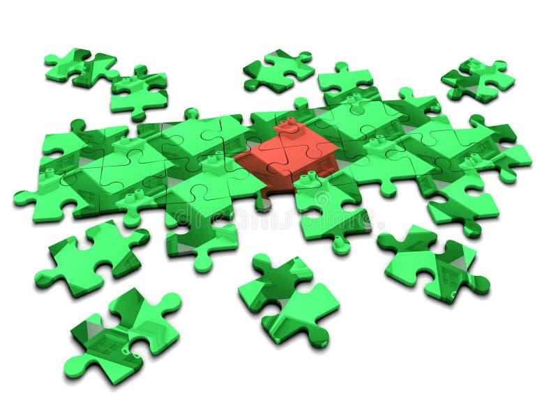 puzzle denteux de problème de logement 3d illustration libre de droits