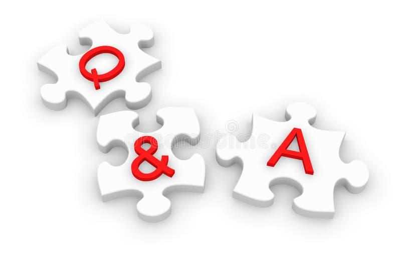 Puzzle denteux de Q et d'A illustration de vecteur