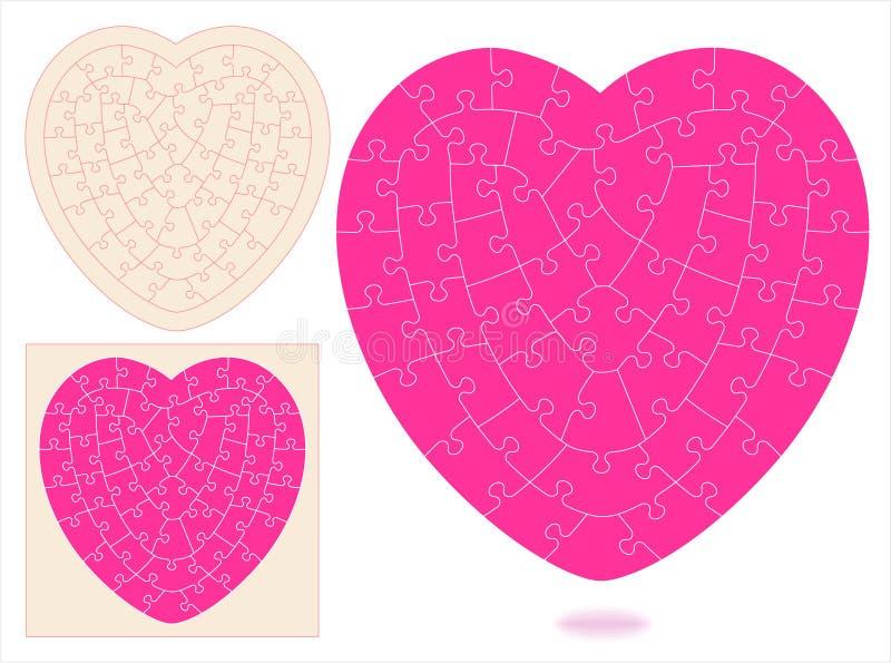 Puzzle denteux en forme de coeur illustration de vecteur