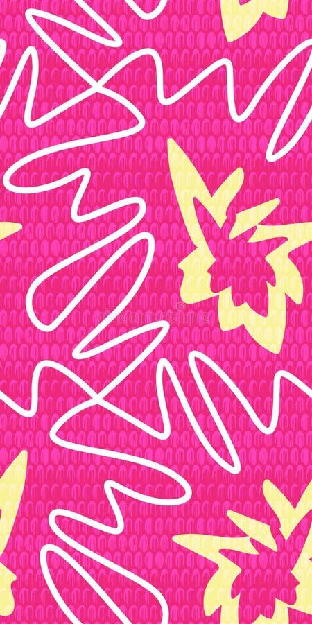 Puzzle denteux géométrique du résumé 80s des formes organiques Fond sans couture de modèle de vecteur dans le rose au néon avec l illustration libre de droits
