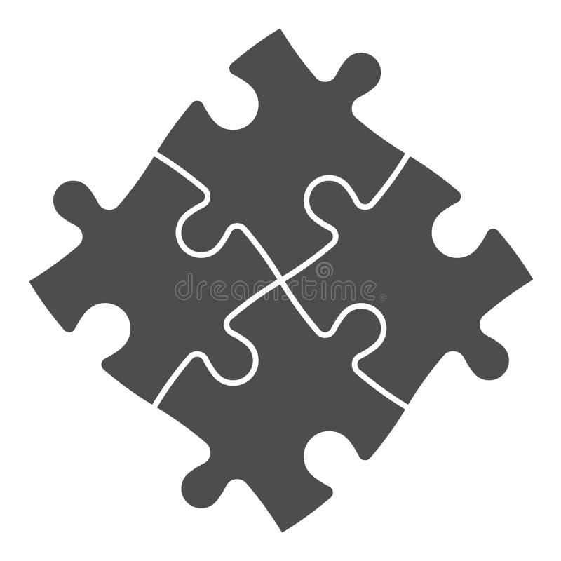 Puzzle denteux résolu de quatre morceaux illustration de vecteur