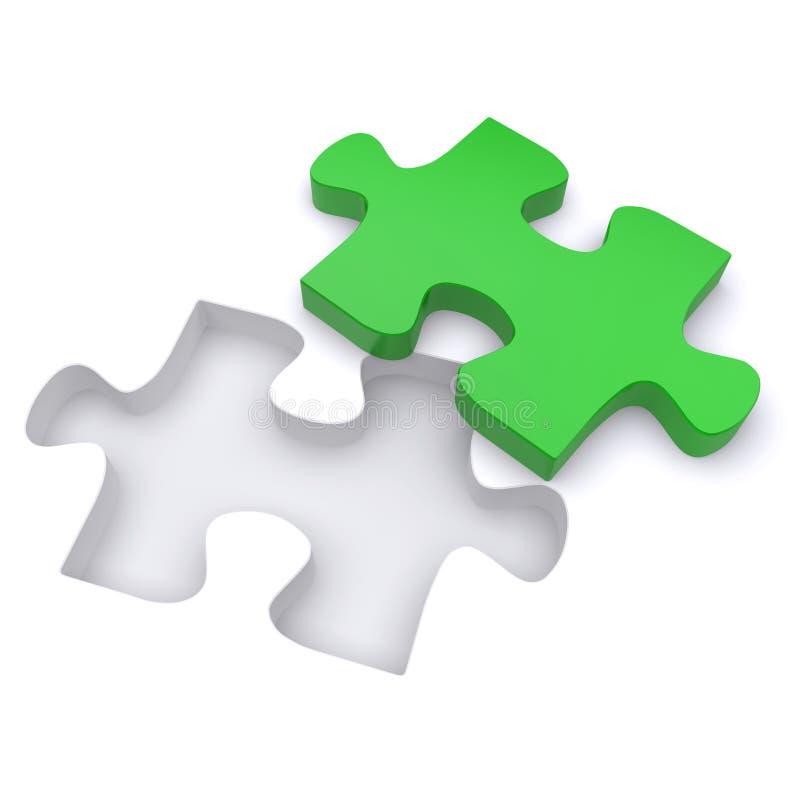 Puzzle denteux vert. illustration de vecteur
