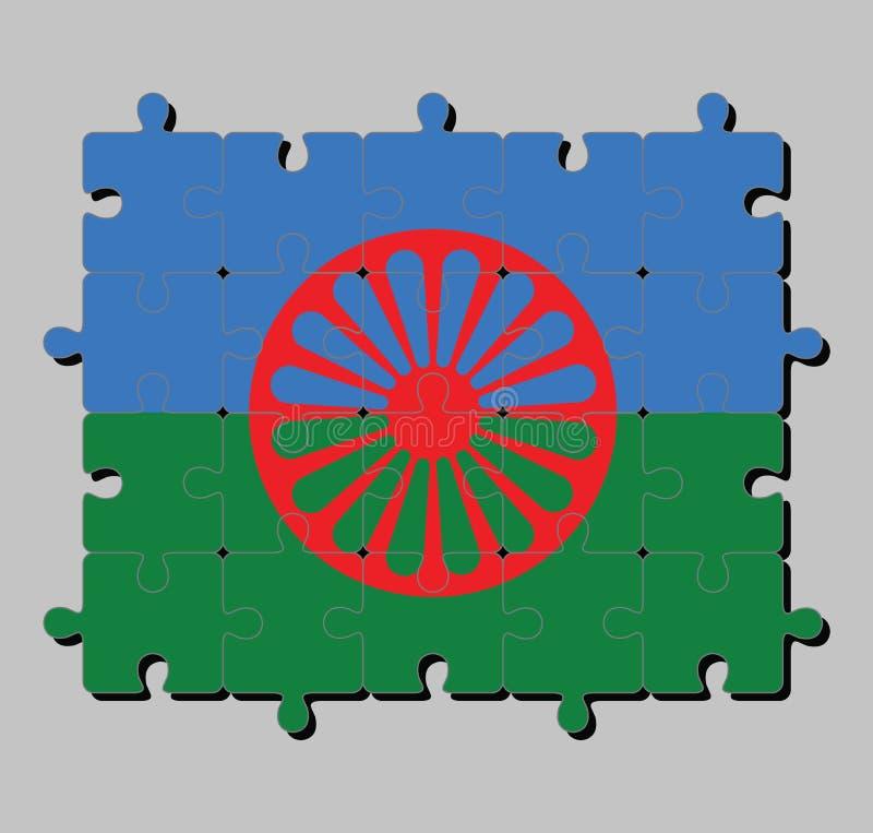 Puzzle der Romani Leuteflagge im blauen und grünen Hintergrund, die Himmel und die Erde und das rote chakra darstellend lizenzfreie abbildung