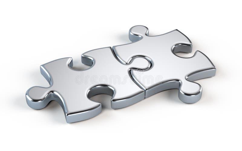 Puzzle deux en métal illustration de vecteur