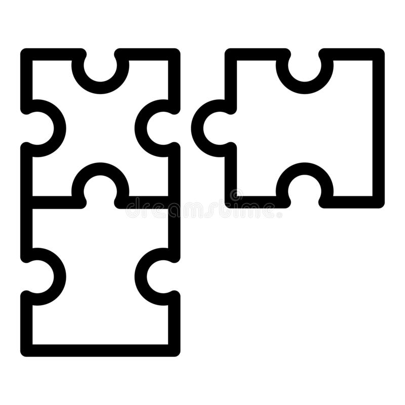 Puzzle development icon, outline style stock illustration